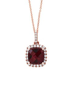 Effy® 0.19 ct. tw. Diamond and Rhodolite Pendant in 14K Rose Gold