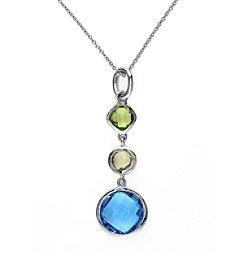 Effy® Blue Topaz,Lemon Quartz, and Peridot Pendant in 14k White Gold