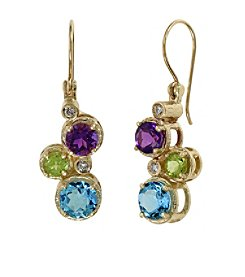 Effy® 0.08 ct. tw. Diamond and Multi Gemstone Earrings in 14K Yellow Gold
