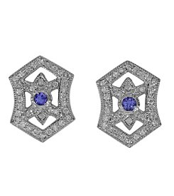 Effy® 0.60 ct. tw. Diamond and Tanzanite Earrings in 14K White Gold