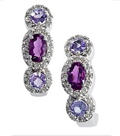 Effy® 0.42 ct. tw. Diamond, Amethyst, and Tanzanite Earrings in 14K White Gold