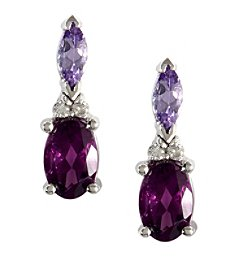 Effy® 0.04 ct. tw. Diamond Accented Earrings with Amethyst and Tanzanite in 14k White Gold
