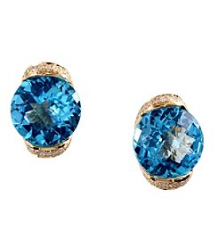 Effy® 0.19 ct. tw. Diamond and Blue Topaz Earrings in 14K Yellow Gold