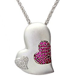 Effy® 925 Collection 0.26 ct. tw. Diamond and Ruby Pendant in Sterling Silver