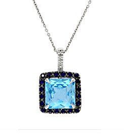 Effy® 0.02 ct. tw. Diamond, Blue Topaz, and Sapphire Pendant in 14K White Gold