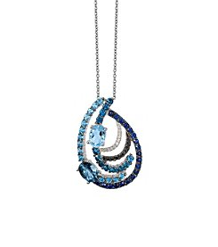 Effy® 0.11 ct. tw. Diamond, Blue Topaz, and Sapphire Pendant in 14K White Gold
