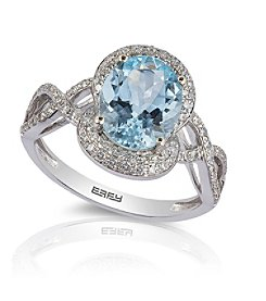 Effy® 0.31 ct. tw. Diamond and Aquamarine Ring in 14K White Gold