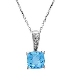 Effy® 0.02 ct. tw. Diamond and Blue Topaz Pendant in 14K White Gold