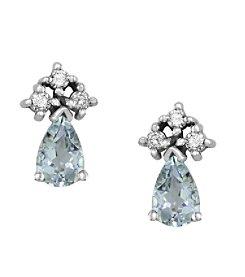 Effy® 0.12 ct. tw. Diamond and Aquamarine Earrings in 14k White Gold