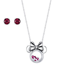 Disney® Minnie Mouse® Floating Charm Pendant & Crystal Stud Earring Set