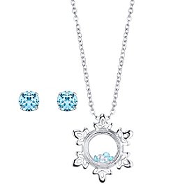 Disney® Frozen Snowflake Floating Charm Pendant & Crystal Stud Earring Set