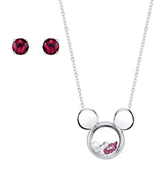 Disney® Mickey Mouse® Floating Charm Pendant & Crystal Stud Earring Set
