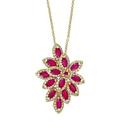 Effy® Amore Collection 0.65 ct. tw. Diamond and Ruby Pendant in 14K Yellow Gold