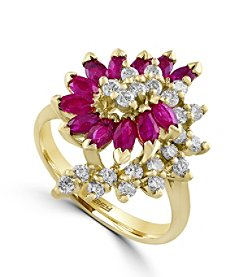 Effy® Amore Collection 0.54 ct. tw. Diamond and Ruby Ring in 14K Yellow Gold