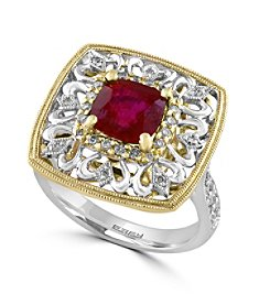 Effy® Ruby Royale Collection 0.33 ct. tw. Diamond and Ruby Ring in 14K White and Yellow Gold