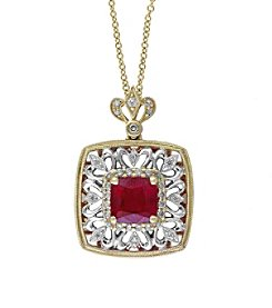 Effy® Ruby Royale Collection 0.20 ct. tw. Diamond and Ruby Pendant in 14K White and Yellow Gold