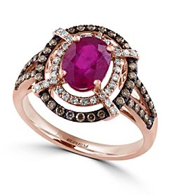 Effy® Ruby Royale Collection 0.46 ct. tw. Diamond and Ruby Ring in 14K Rose Gold
