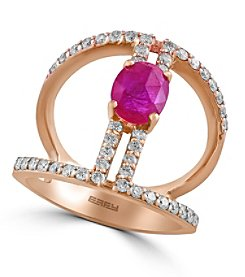 Effy® Amore Collection 0.65 ct. tw. Diamond and Ruby Ring in 14K Rose Gold
