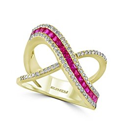Effy® Amore Collection 0.32 ct. tw. Diamond and Ruby Ring in 14K Yellow Gold