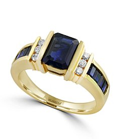 Effy® Royale Bleu Collection 0.15 ct. tw. Diamond and Sapphire Ring in 14K Yellow Gold
