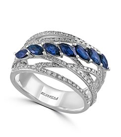 Effy® Royale Bleu Collection 0.55 ct. tw. Diamond and Sapphire Ring in 14K White Gold
