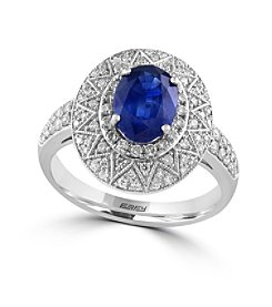 Effy® Royale Bleu Collection 0.47 ct. tw. Diamond and Sapphire Ring in 14K White Gold