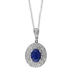 Effy® Royale Bleu Collection 0.36 ct. tw. Diamond and Sapphire Pendant in 14K White Gold