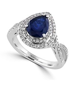 Effy® Royale Bleu Collection 0.38 ct. tw. Diamond and Sapphire Ring in 14K White Gold