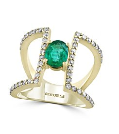 Effy® Brasilica Collection 0.59 ct. tw. Diamond and Emerald Ring in 14K Yellow Gold
