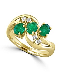 Effy® Brasilica Collection 0.08 ct. tw. Diamond and Emerald Ring in 14K Yellow Gold