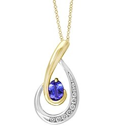 Effy® Tanzanite Royale Collection Tanzanite Pendant in 14K White and Yellow Gold