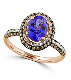 Effy® Tanzanite Royale Collection 0.55 ct. tw. Diamond and Tanzanite Ring in 14K Rose Gold
