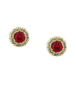 Effy® Amore Collection 0.09 ct. tw. Diamond and Ruby Earrings in 14K Yellow Gold