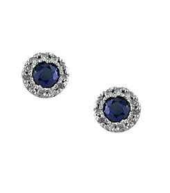 Effy® Royale Bleu Collection 0.09 ct. tw. Diamond and Sapphire Earrings in 14K White Gold