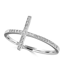 Effy® Pave Classica Collection 0.10 ct. tw. Diamond Cross Ring in 14K White Gold