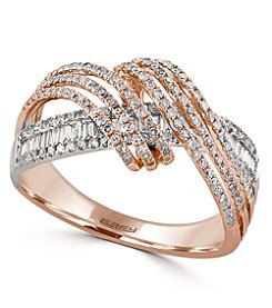 Effy® Pave Rose Collection 0.70 ct. tw. Diamond Ring in 14K White and Rose Gold
