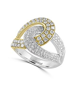 Effy® Duo Collection 1.03 ct. tw. Diamond Ring in 14K White and Yellow Gold