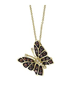Effy® Espresso Collection 0.38 ct. tw. Diamond Butterfly Pendant in 14K Yellow Gold