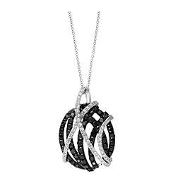 Effy® Caviar Collection 0.92 ct. tw. Black and White Diamond Necklace in 14K White Gold