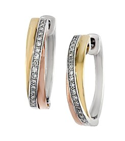 Effy® Trio Collection 0.15 ct. tw. Diamond Hoop Earrings in 14K White, Yellow and Rose Gold