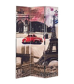 Acme Trudy 3-Panel Paris Scenery Wooden Screen