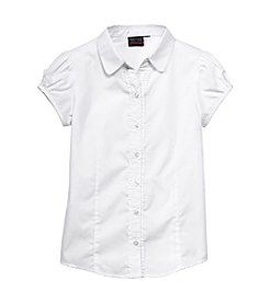 Nautica® Girls' 4-6X Short Sleeve Ruffle Blouse