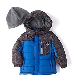 London Fog® Boys' 2T-16 Puffer Jacket With Hat