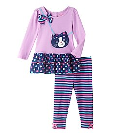 Nannette® Baby Girls' Kitty Purse Top And Leggings Set
