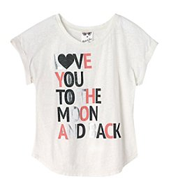 Belle du Jour Girls' 7-16 Short Sleeve Love You To The Moon Tee