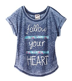 Belle du Jour Girls' 7-16 Short Sleeve Follow Your Heart Tee