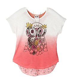 Belle du Jour Girls' 7-16 Short Sleeve Owl Dip-Dye Tee