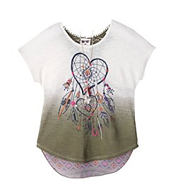 Belle du Jour Girls' 7-16 Short Sleeve Dream Catcher Dip-Dye Tee