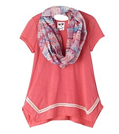 Belle du Jour Girls' 7-16 Short Sleeve Sharkbite Tee With Scarf