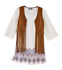 Sequin Hearts® Girls' 7-16 Border Printed Shift Dress With Fringe Vest